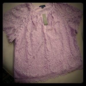 J Crew short sleeve lace top